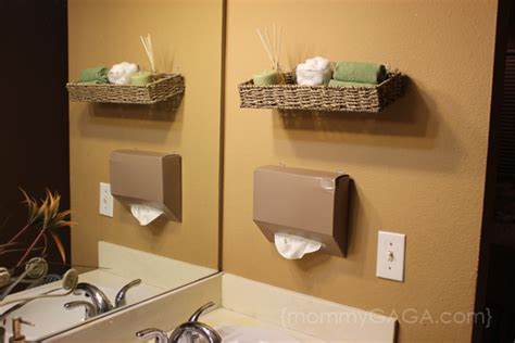 diy bathroom ideas floating wall decor and kleenex