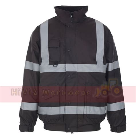 Jacket Boomber Waterproof 7 hi viz security bomber waterproof padded jacket warm mens coat workwear ebay