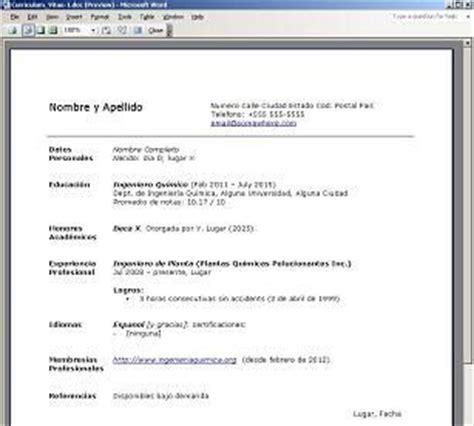 Modelo De Curriculum Vitae Y Sus Partes definici 243 n de curr 237 culum 187 concepto en definici 243 n abc