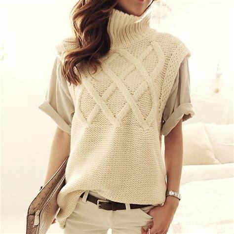 knitting pattern sleeveless jumper women s turtleneck thick warm long knit sweaters pullovers