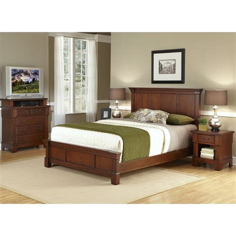 complete bedroom set shop home styles aspen rustic cherry king bedroom set at