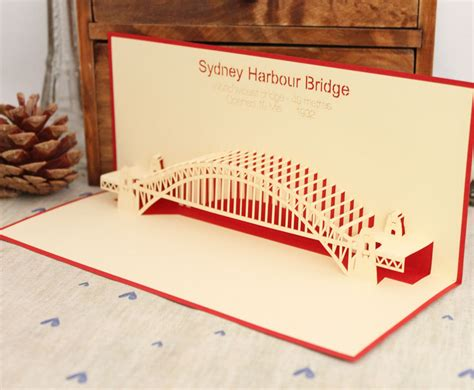 lasercut popup card template new year 2013 sydney bridge laser cut vintage 3d pop up