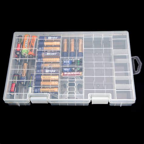 Battery Storage Box aaa aa c d 9v battery holder plastic storage box rack transparent us 6 99