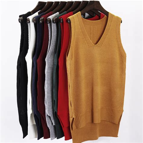 womens knit vest fall winter 2016 new fashion autumn sleeveless v