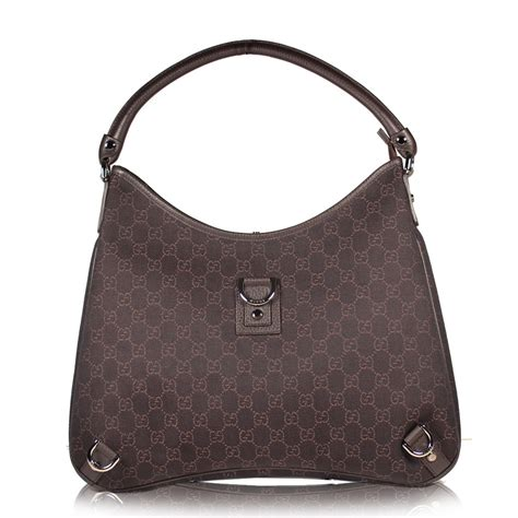 Bag Gucci Brown Kode 6138 gucci handbag signature fabric denim hobo brown