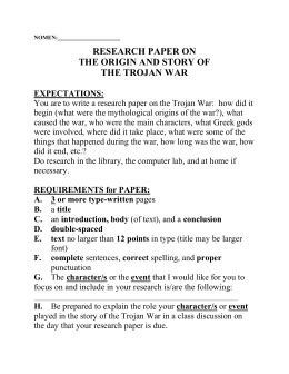 trojan war research paper characters of the trojan war