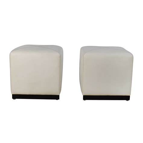 White Leather Cube Ottoman Storage Ottoman Cube Folding Cube Storage Ottoman Seat Pair Of White Leather Ottoman Cubes