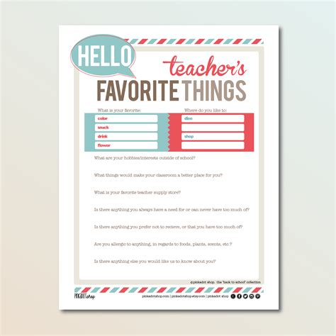 5 best images of my teachers favorite things printable