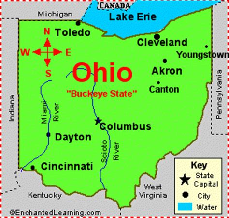 map of ohio rivers and cities ohio facts map and state symbols enchantedlearning