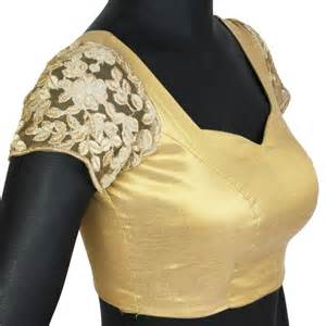 golden color blouse gold stitched blouse with embroidered sleeves
