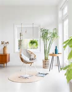Living Room Greenery All White Interior Filled With Mid Century Modern