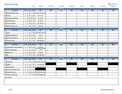 workout log template spreadsheetshoppe