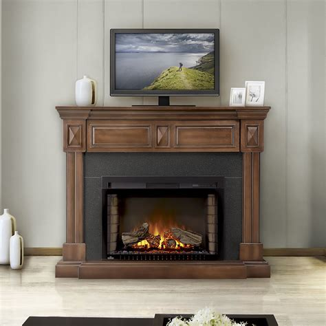 Walnut Electric Fireplace by Braxton Electric Fireplace Mantel Package In Burnished