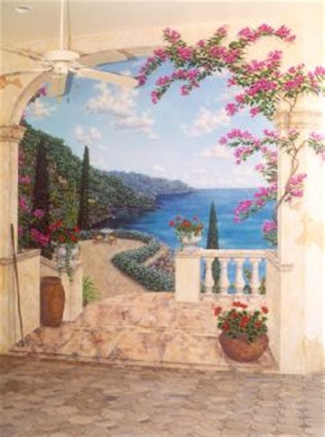 murals and faux painting mediterranean terrace trompe l oeil mural