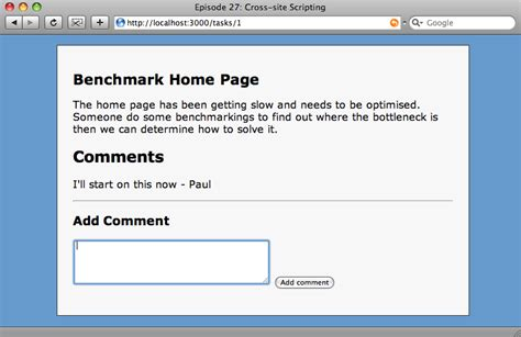 how to make a comment section in html 27 cross site scripting railscasts