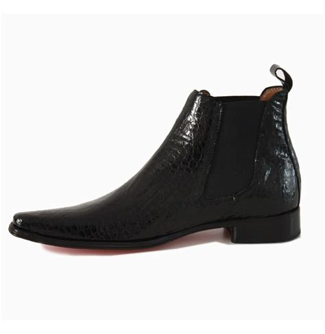 black crocodile patent leather ankle boots luxurious mens