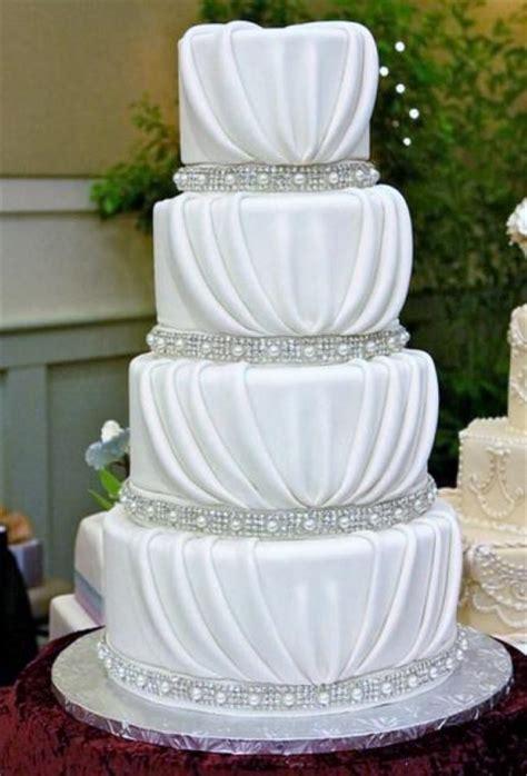 New Four Tier Wedding Cake 4 Tier Drape Wedding Cake Pearl Bands Jpg Hi Res