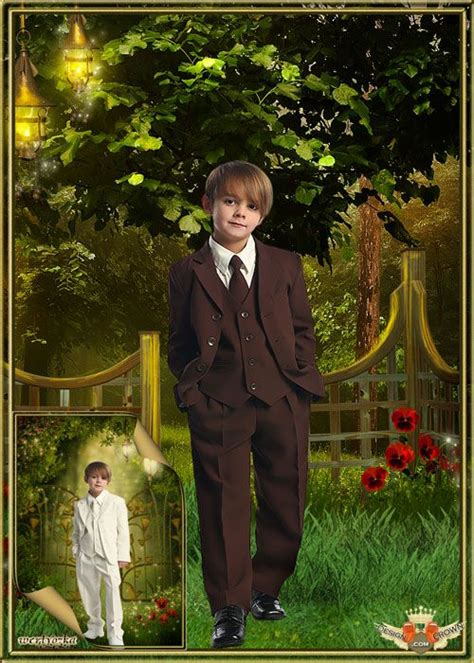 stylish classic suit psd costume montage template for boys