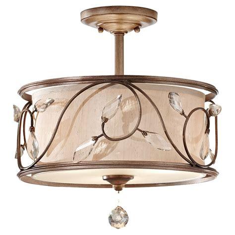 semi flush drum light feiss sf300ars priscilla 3 light indoor semi flush mount