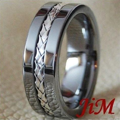 T01 218 Titanium Necklaces tungsten ring silver inlay mens wedding band jewelry titanium color size 6 15 wedding