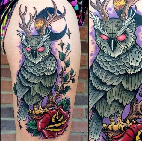 neo traditional owl tattoo neo traditional owl with antlers design