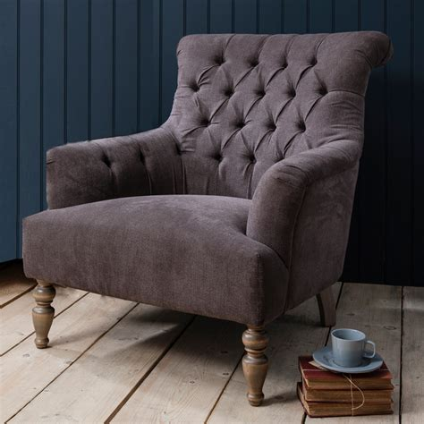 Oversize Armchair by Grand Button Back Armchair Slate Grey Traditional
