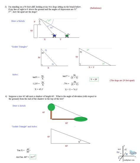 Right Triangle Trigonometry Word Problems Worksheet With Answers by Math Plane Trigonometry Word Problems
