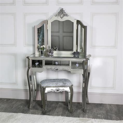 silver mirrored dressing table stool mirror ornate bedroom furniture set ebay