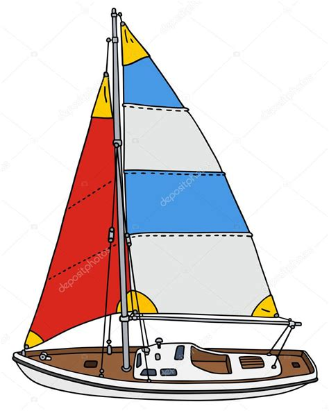 sailboat color color small sailing yacht stock vector 169 2v 88300404