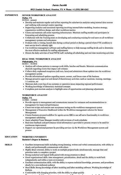 Workforce Analyst Sle Resume by Workforce Analyst Resume Sles Velvet