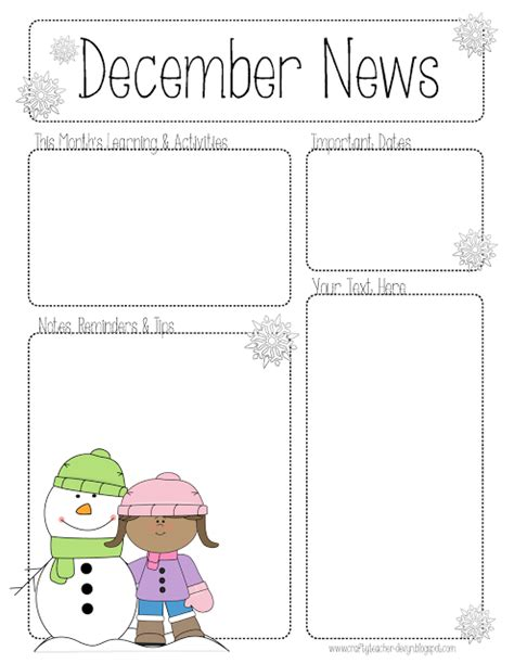 december newsletter template the crafty fall preschool newsletter template