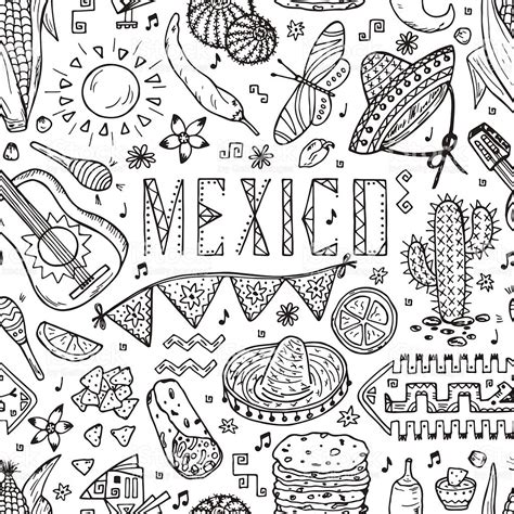 doodle element mexico seamless pattern doodle elements of