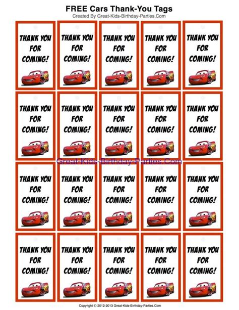 Free Printable Disney Cars Thank You Tags For Party Favors At Great Kids Birthday Parties Com Auto Labels Templates