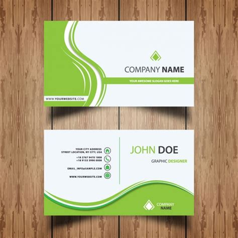 green business cards templates free modern green business card