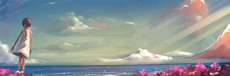 anime layout twitter anime girl looking at the clouds twitter cover twitter