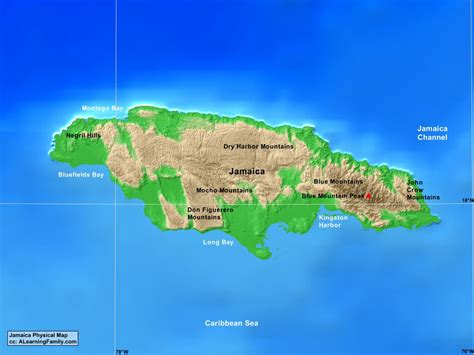 physical map of jamaica jamaica physical map a learning family