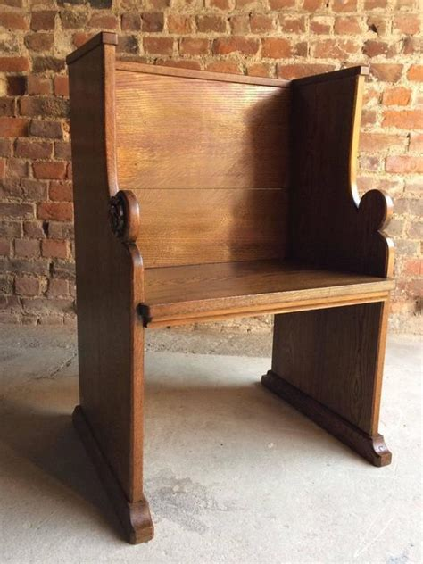 priest bench church pew priests bench settle solid oak antique gothic