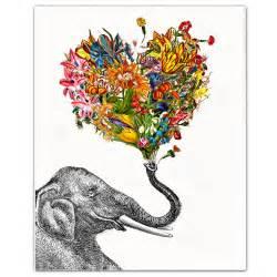 decorative posters the happy elephant print mixed media decorative animal