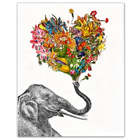 the happy elephant print mixed media decorative art animal