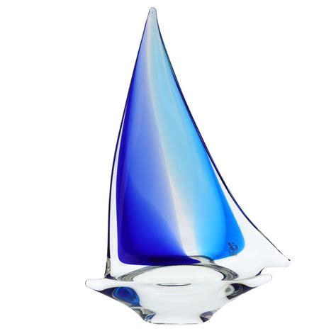 glass sailboat murano glass sailboat aqua blue glass sailboat sculpture