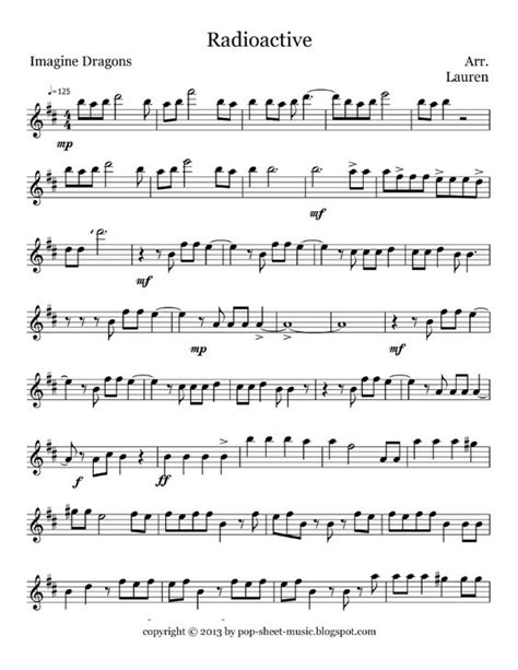 printable radioactive lyrics free pop sheet music radioactive imagine dragons flute