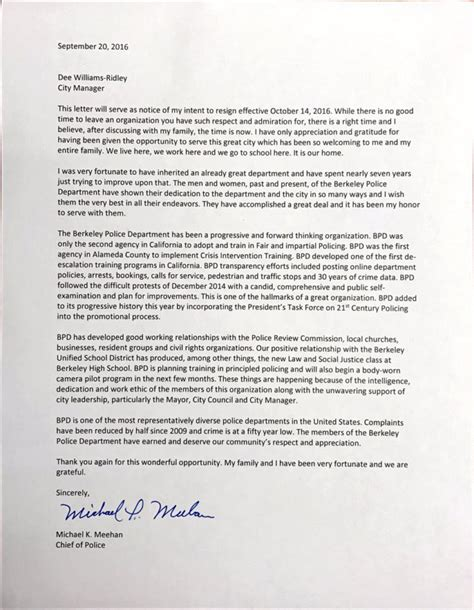 Resignation Letter For Chief Berkeley Chief Resigns No Reason Provided Berkeleyside