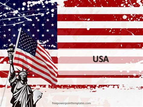 10103 Usa Flag Freepowerpointtemplates 1 Free Powerpoint American Flag Powerpoint Template