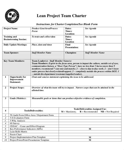 team charter template word 8 project charter templates free sle exle