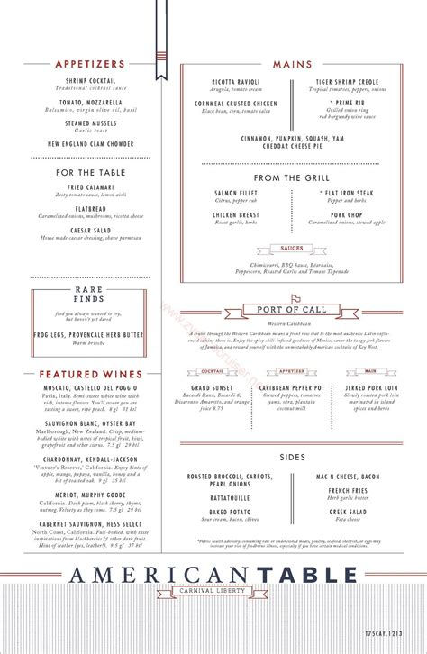 t room menu carnival liberty western american table menu grand cayman