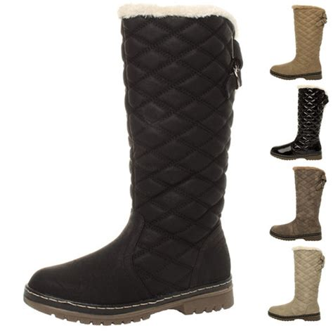 WOMENS LADIES GIRLS FLAT HIGH CALF KNEE QUILTED FUR LINED WINTER SNOW BOOTS SIZE   Amazing Shoes UK