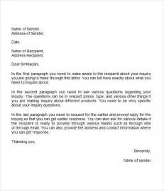 Inquiry Letter With Exle Inquiry Letter 7 Free Doc