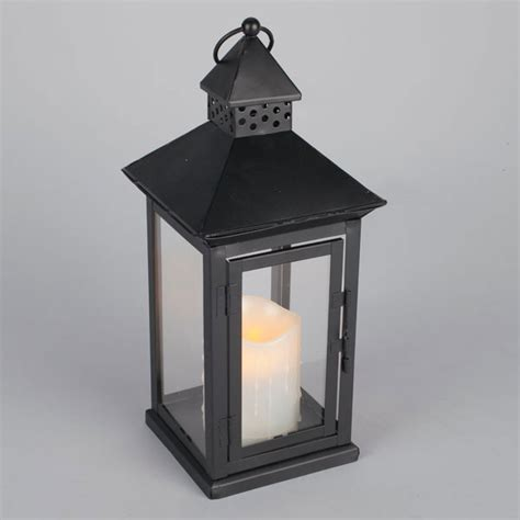 outdoor black metal flameless led lantern timer