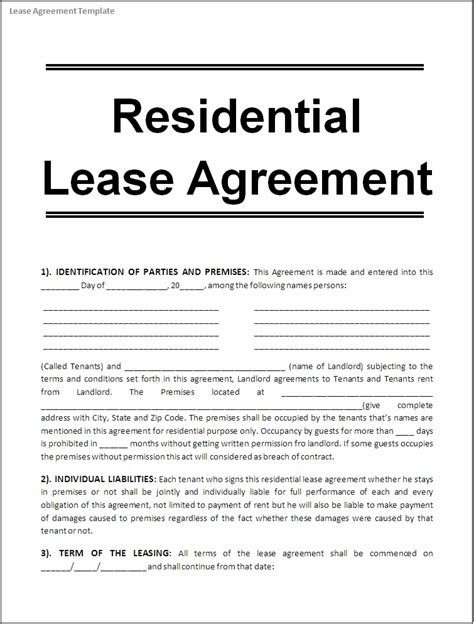 Template Residential Lease Agreement by Lease Agreement Template Free Printable Documents