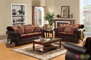 Fidelia traditional burgundy living room set with pillows sm6107
